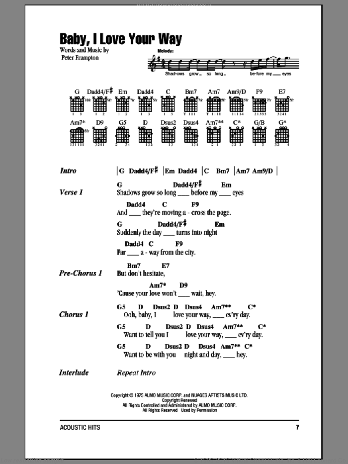Baby, I Love Your Way sheet music for guitar (chords) by Peter Frampton, intermediate