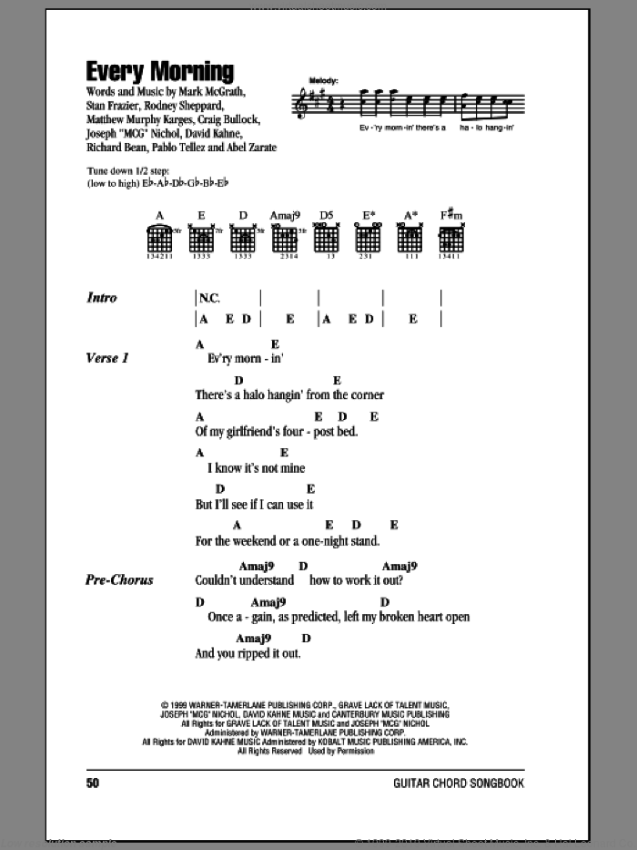 Ray - Every Morning sheet music for guitar (chords) [PDF]