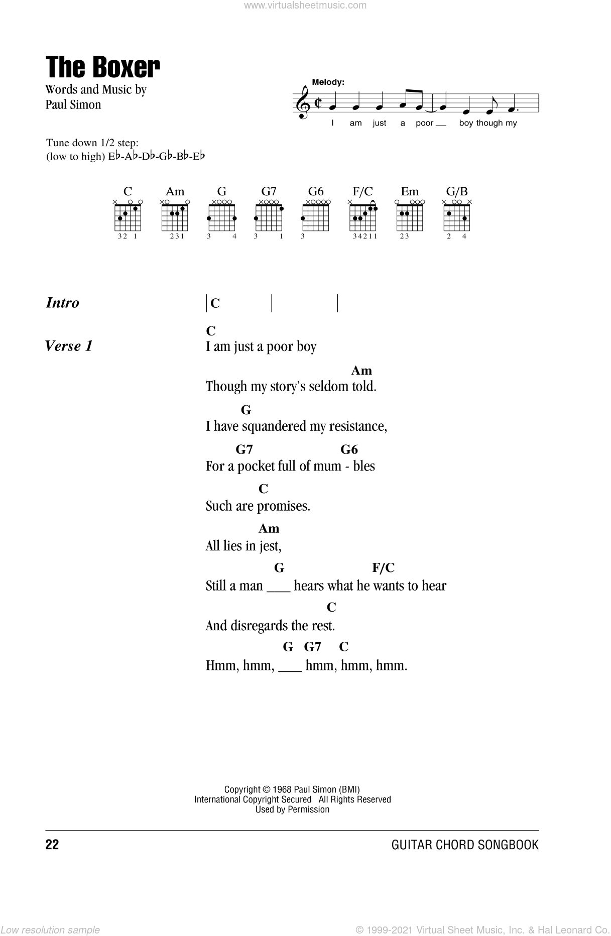 The Boxer sheet music for guitar (chords) by Paul Simon and Simon & Garfunkel. Score Image Preview.