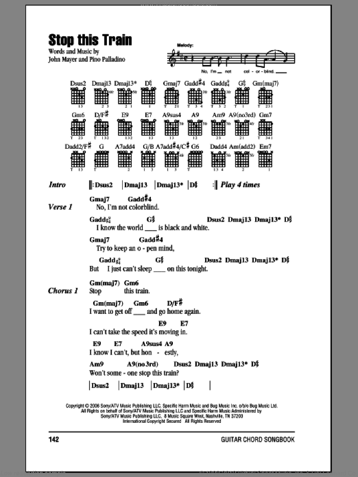 Stop This Train sheet music for guitar (chords) by John Mayer, intermediate guitar (chords). Score Image Preview.