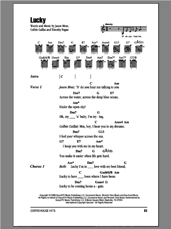 Lucky sheet music for guitar (chords) by Jason Mraz & Colbie Caillat, Colbie Caillat and Jason Mraz, wedding score, intermediate. Score Image Preview.