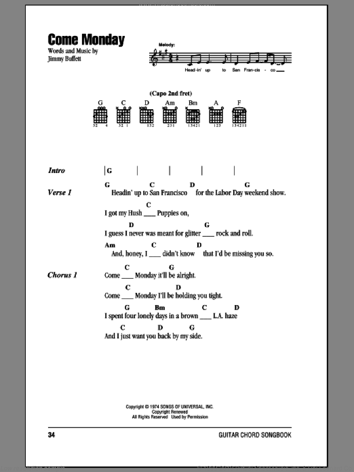 Come Monday sheet music for guitar (chords) by Jimmy Buffett. Score Image Preview.