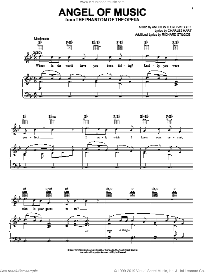 Angel Of Music sheet music for voice, piano or guitar by Richard Stilgoe