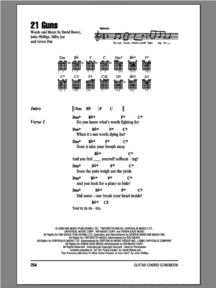 21 Guns sheet music for guitar (chords) by Green Day, Billie Joe Armstrong, David Bowie, Frank Wright and Mike Pritchard. Score Image Preview.