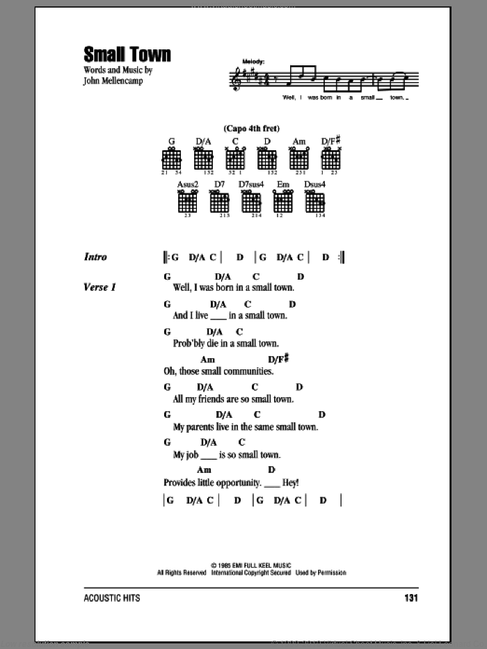 Small Town sheet music for guitar (chords) by John Mellencamp. Score Image Preview.