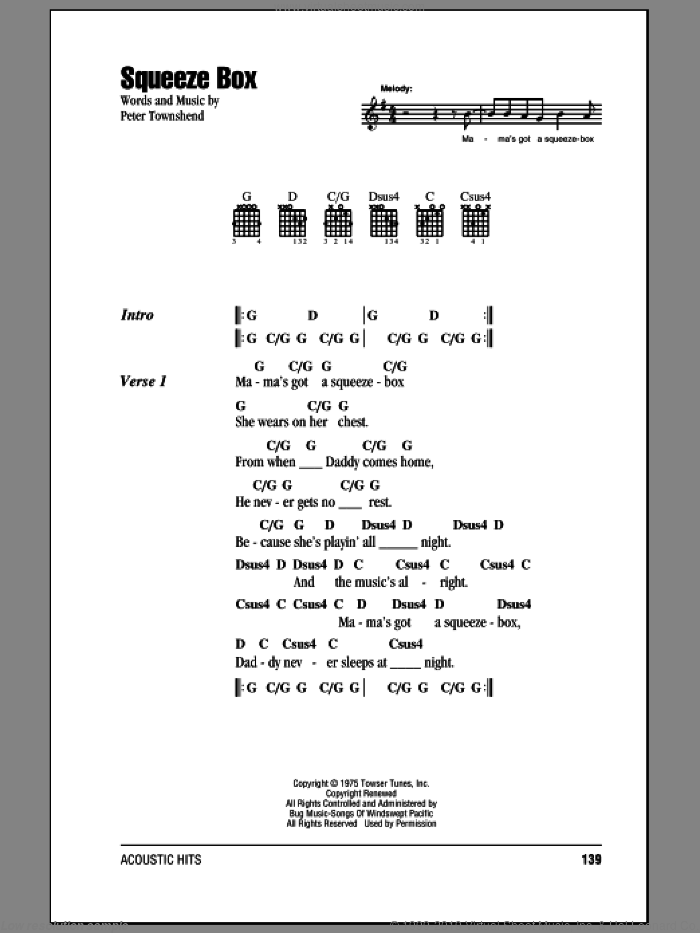 Squeeze Box sheet music for guitar (chords) by The Who and Pete Townshend, intermediate skill level