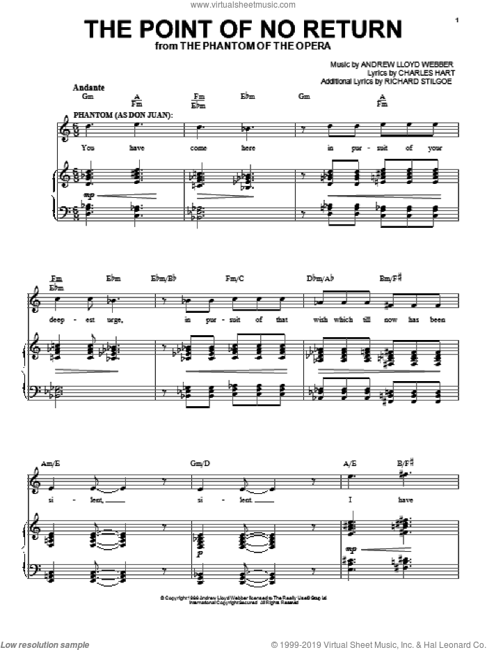 The Point Of No Return sheet music for voice, piano or guitar by Andrew Lloyd Webber, The Phantom Of The Opera (Musical), Charles Hart and Richard Stilgoe, intermediate skill level