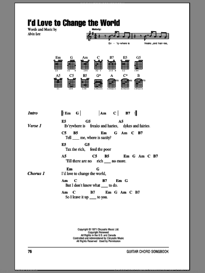 I'd Love To Change The World sheet music for guitar (chords) by Alvin Lee. Score Image Preview.
