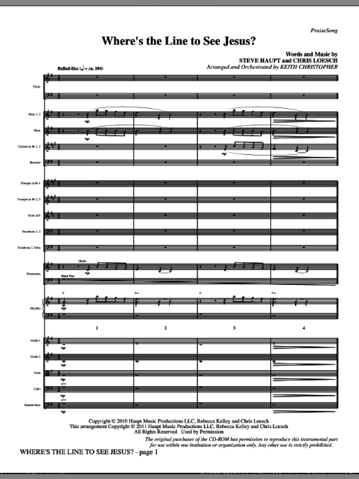 Where's The Line To See Jesus? (complete set of parts) sheet music for orchestra/band (Orchestra) by Keith Christopher, Chris Loesch and Steve Haupt, intermediate skill level
