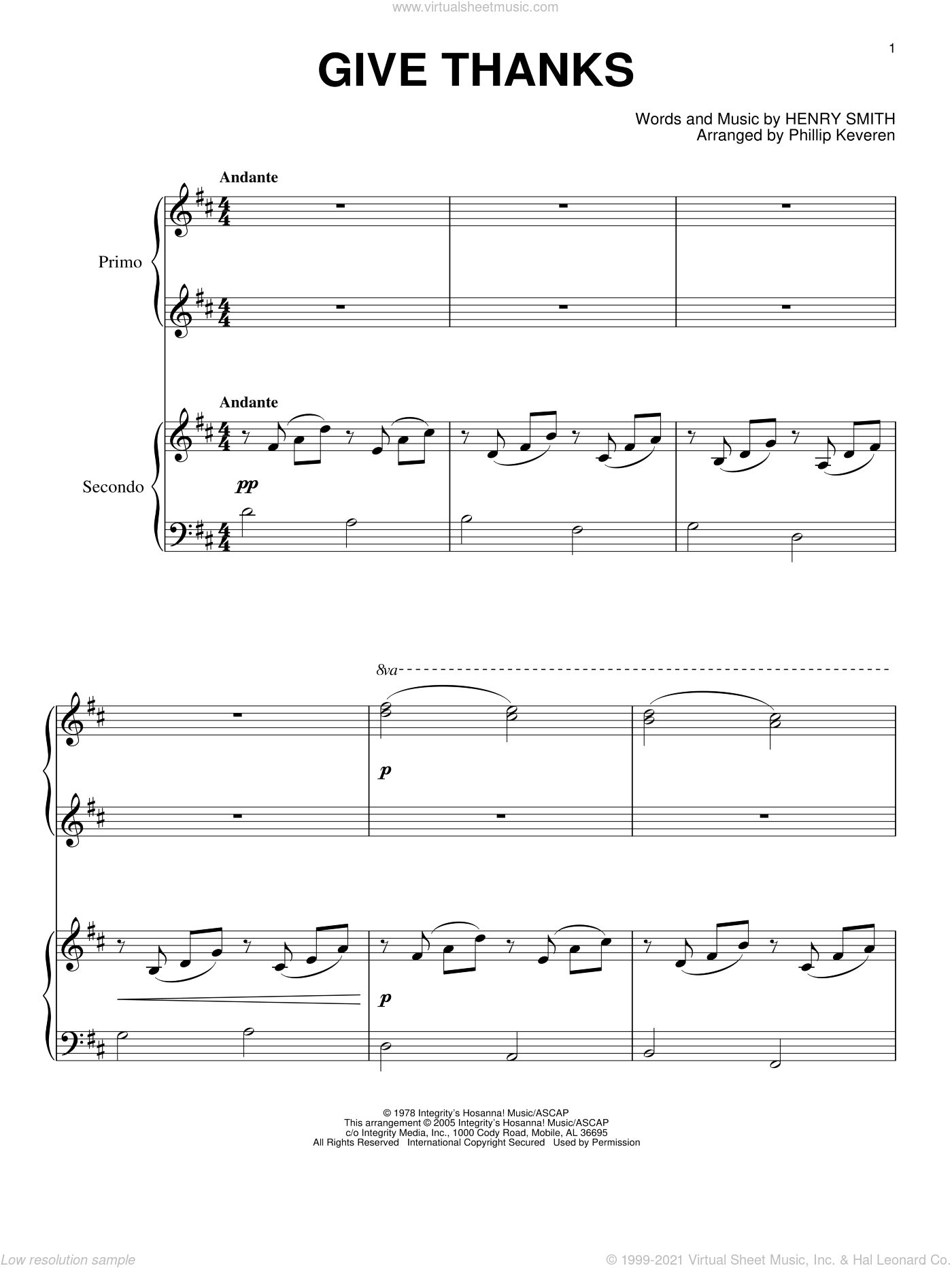 Give Thanks sheet music for piano four hands by Henry Smith and Phillip Keveren, intermediate skill level