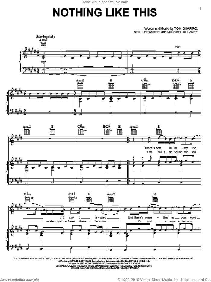 Nothing Like This sheet music for voice, piano or guitar by Rascal Flatts, Michael Dulaney, Neil Thrasher and Tom Shapiro, intermediate skill level