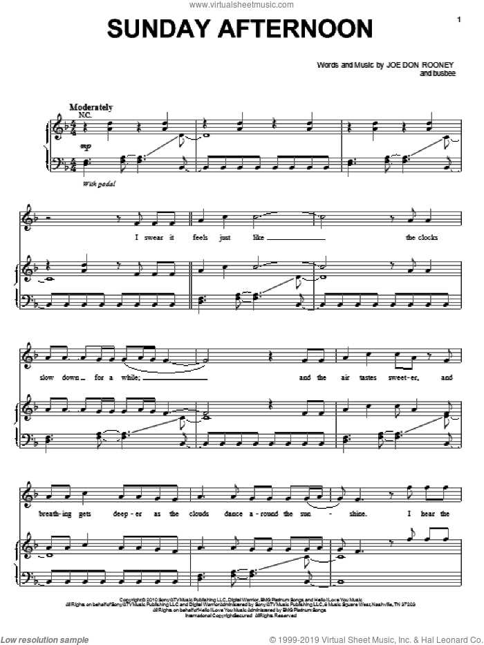Sunday Afternoon sheet music for voice, piano or guitar by Joe Don Rooney, Rascal Flatts and busbee. Score Image Preview.