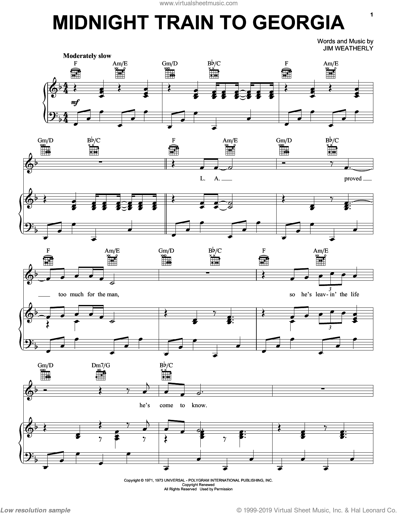 Midnight Train To Georgia sheet music for voice, piano or guitar by Gladys Knight & The Pips and Jim Weatherly, intermediate skill level