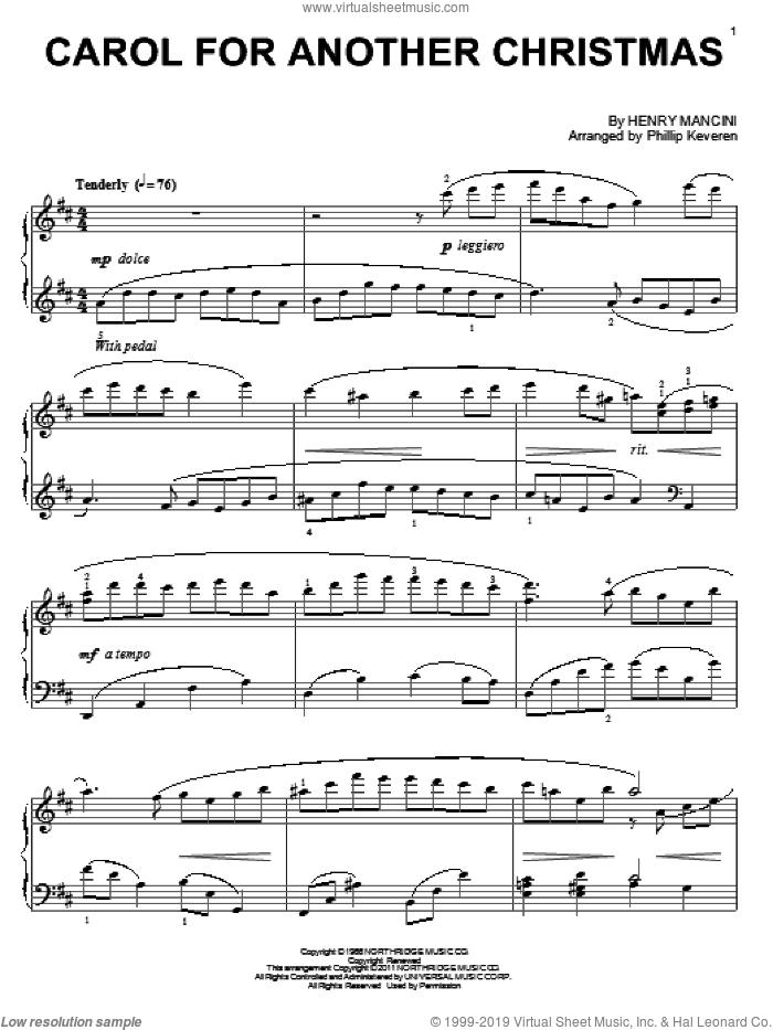 Carol For Another Christmas sheet music for piano solo by Henry Mancini and Phillip Keveren, intermediate skill level
