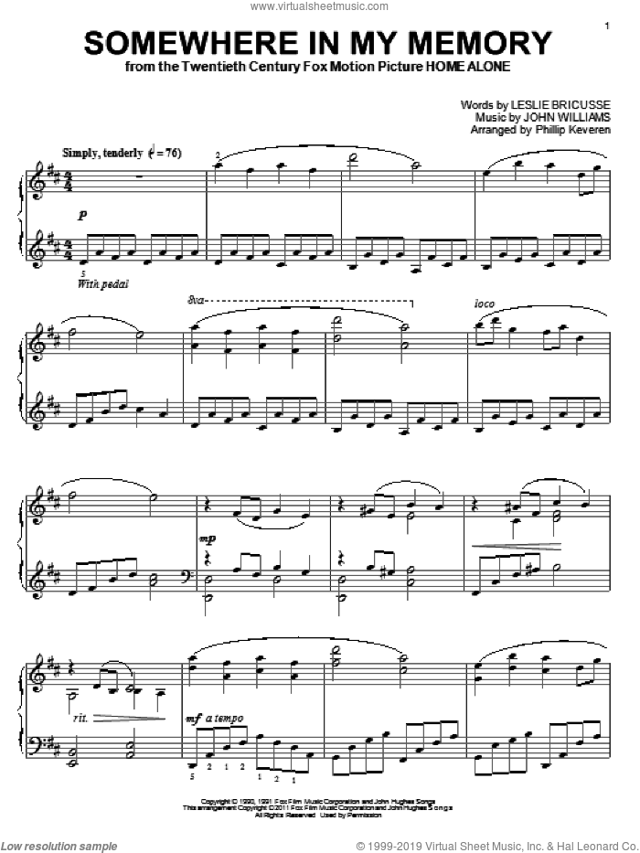 Somewhere In My Memory (arr. Phillip Keveren) sheet music for piano solo by Bette Midler, Phillip Keveren, John Williams and Leslie Bricusse, intermediate skill level