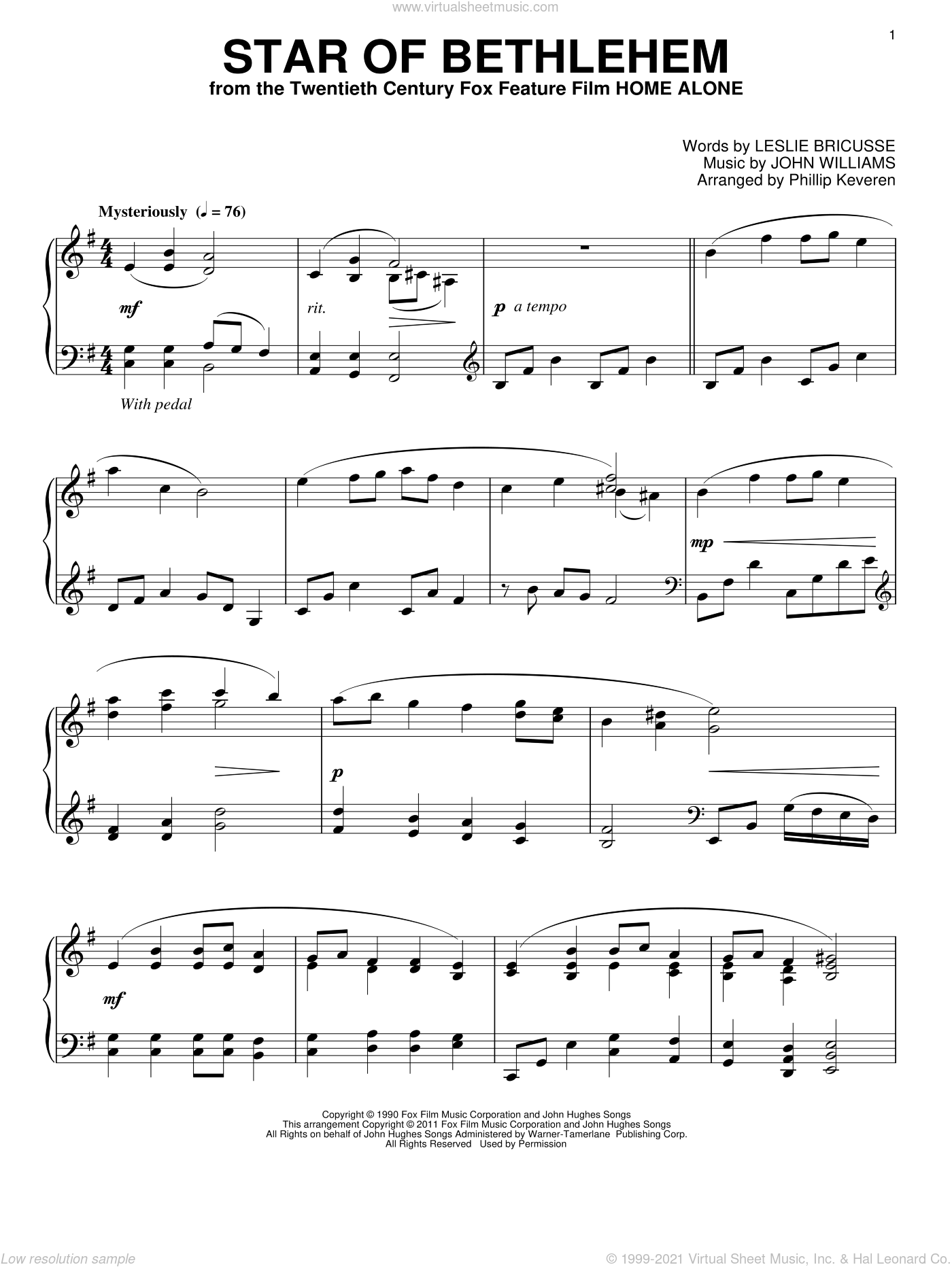 Star Of Bethlehem sheet music for piano solo by Leslie Bricusse, Phillip Keveren and John Williams, intermediate skill level