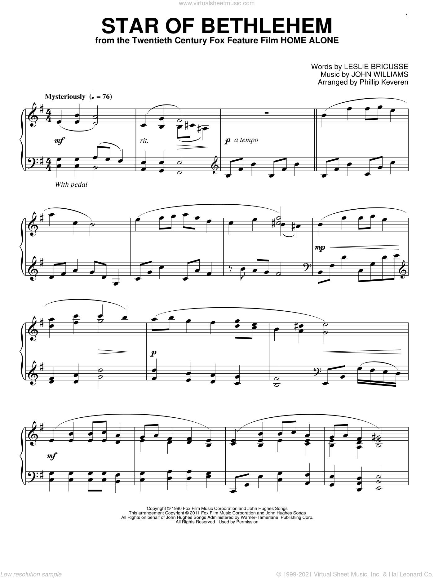 Star Of Bethlehem sheet music for piano solo by Leslie Bricusse, Phillip Keveren and John Williams, intermediate skill level