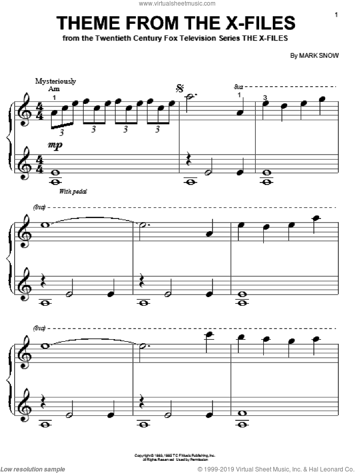 Theme From The X-Files sheet music for piano solo (big note book) by Mark Snow, easy piano (big note book)