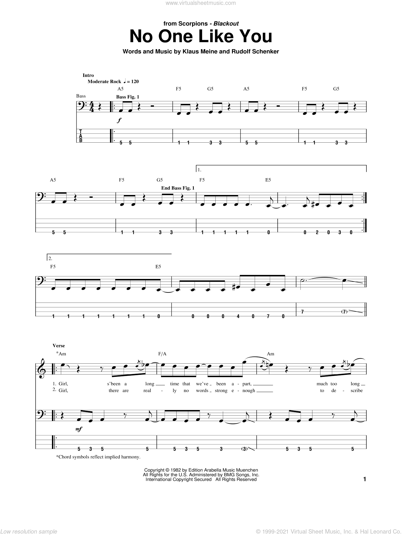 No One Like You sheet music for bass (tablature) (bass guitar) by Scorpions, Klaus Meine and Rudolf Schenker, intermediate skill level