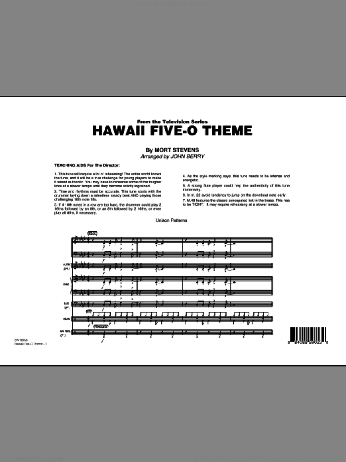 Hawaii Five-O Theme sheet music for jazz band (full score) by Mort Stevens