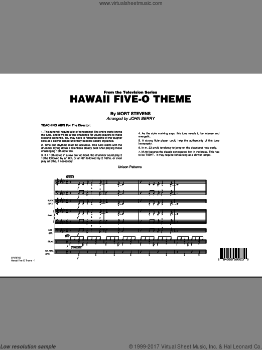 Hawaii Five-O Theme (COMPLETE) sheet music for jazz band by Mort Stevens