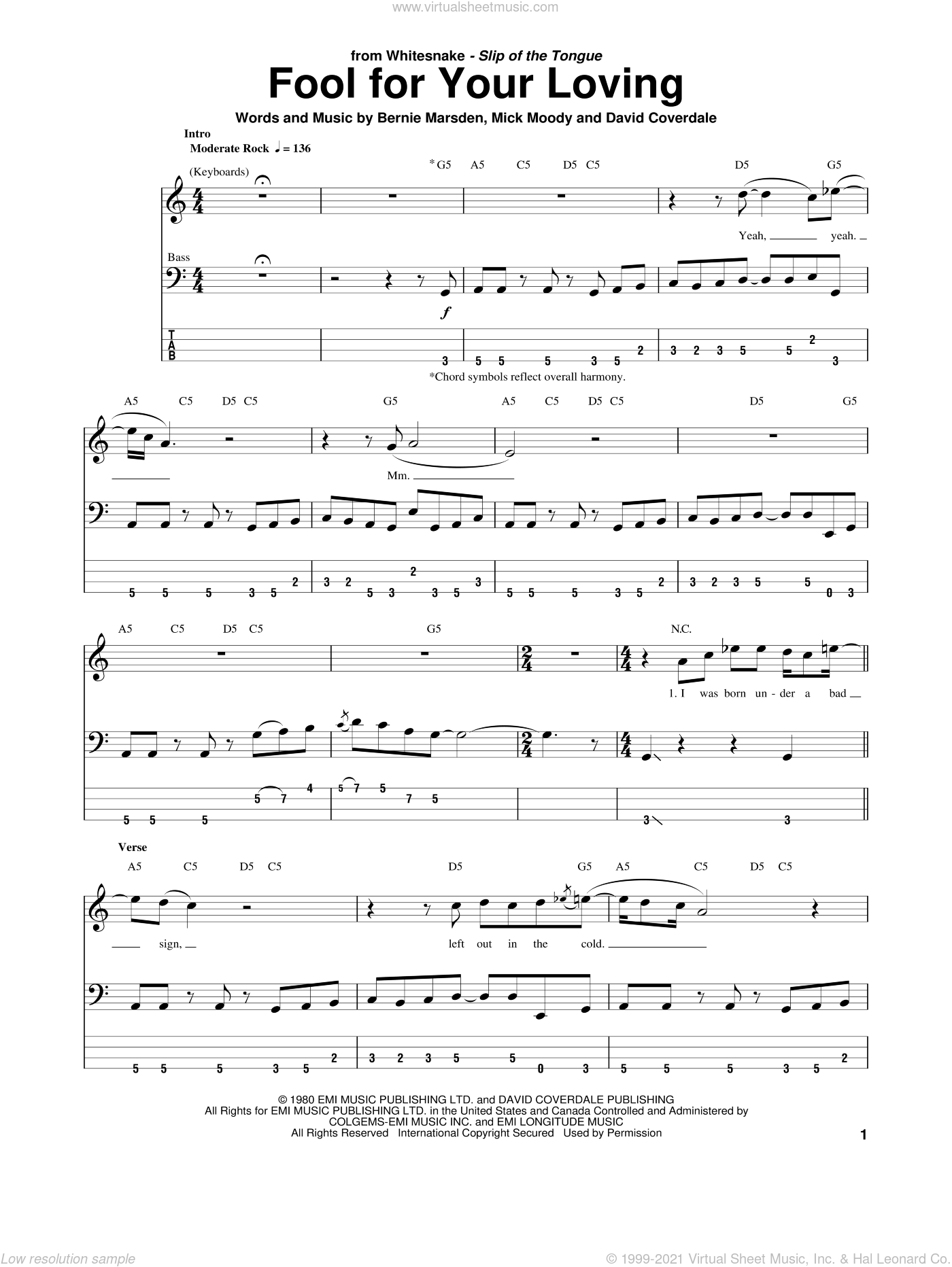 Fool For Your Loving sheet music for bass (tablature) (bass guitar) by Michael Moody, Whitesnake, Bernie Marsden and David Coverdale. Score Image Preview.