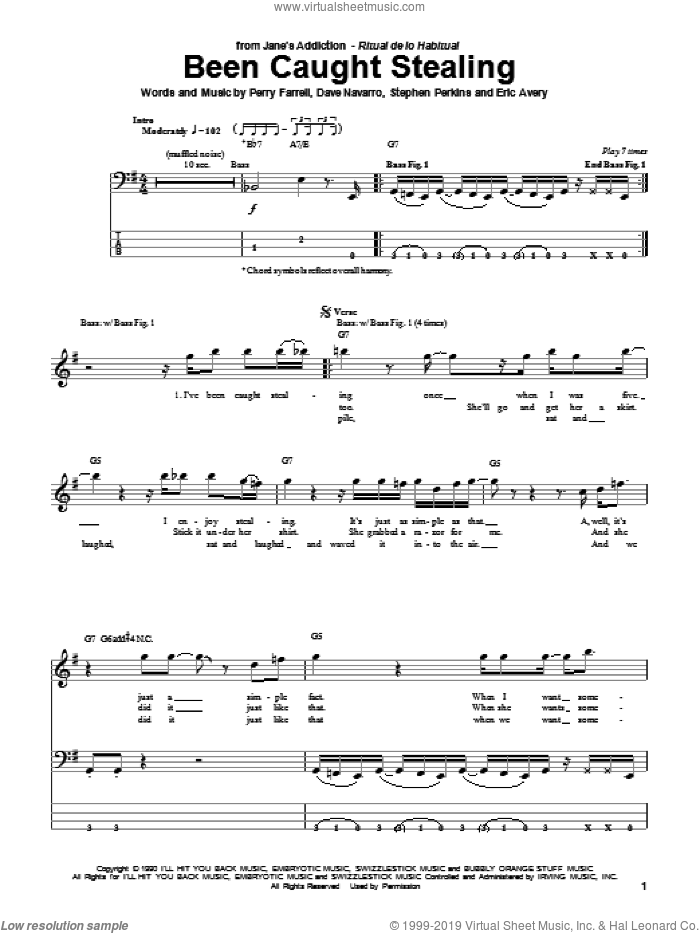 Been Caught Stealing sheet music for bass (tablature) (bass guitar) by Jane's Addiction and Perry Farrell, intermediate bass (tablature) (bass guitar). Score Image Preview.