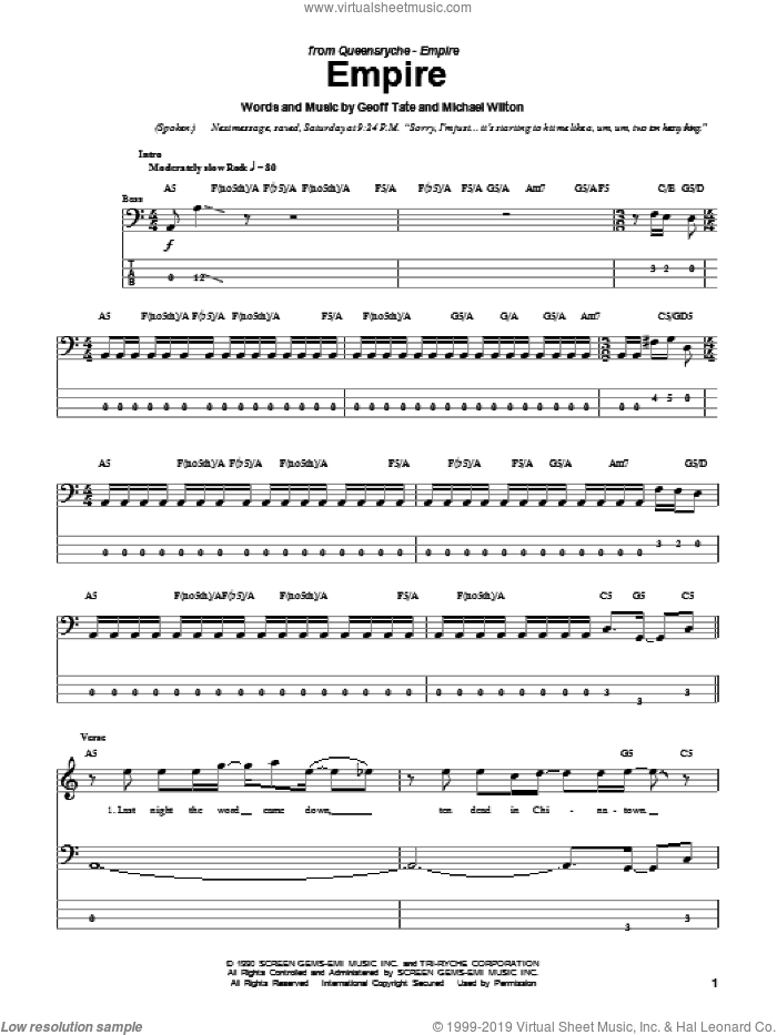 Empire sheet music for bass (tablature) (bass guitar) by Queensryche, intermediate bass (tablature) (bass guitar). Score Image Preview.