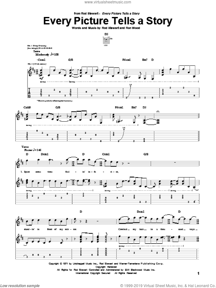 Every Picture Tells A Story sheet music for guitar (tablature) by Rod Stewart and Ron Wood, intermediate. Score Image Preview.