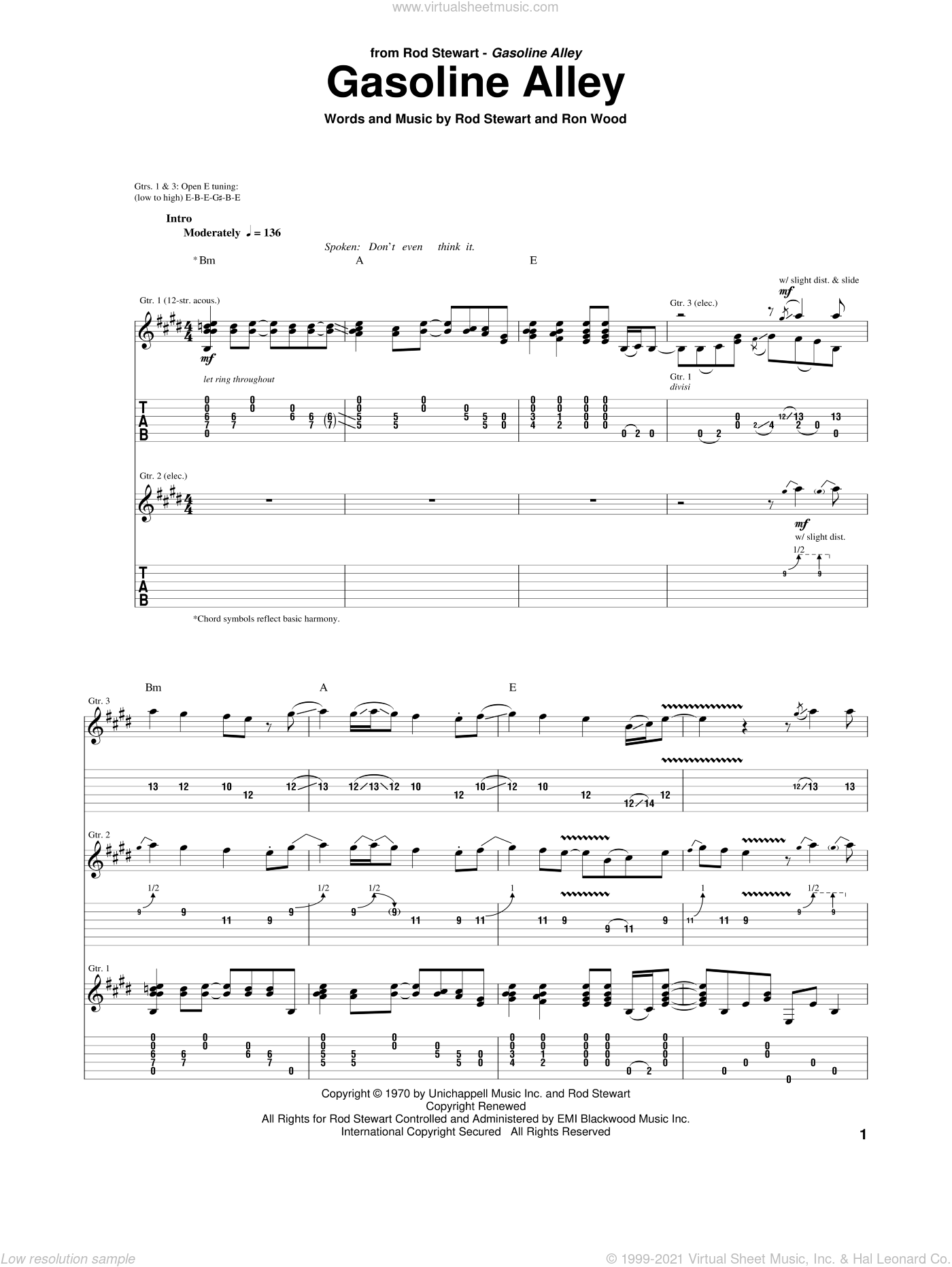 Gasoline Alley sheet music for guitar (tablature) by Rod Stewart and Ron Wood, intermediate. Score Image Preview.