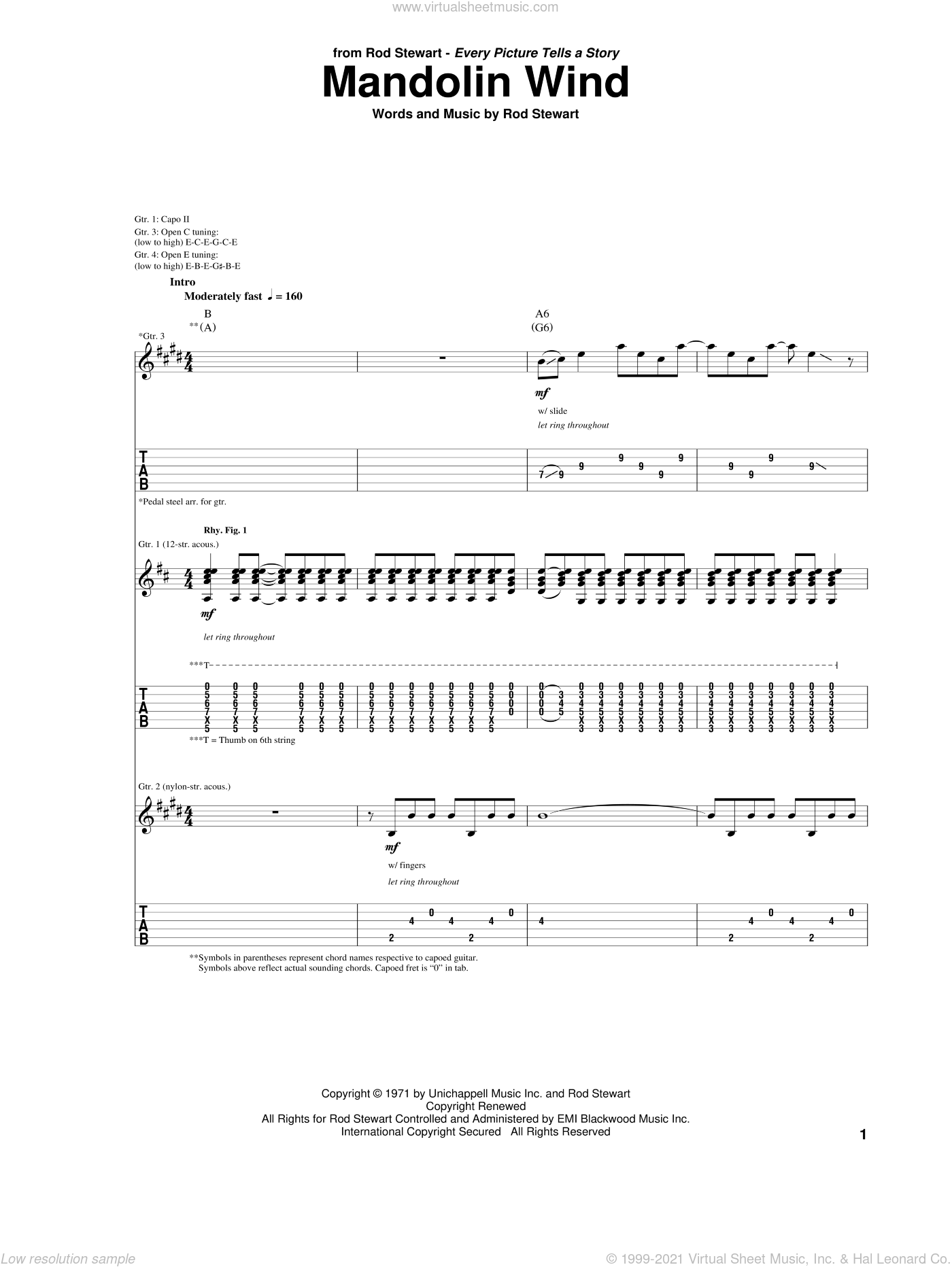 Mandolin Wind sheet music for guitar (tablature) by Rod Stewart. Score Image Preview.