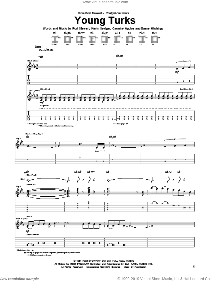 Young Turks sheet music for guitar (tablature) by Rod Stewart and Kevin Savigar, intermediate guitar (tablature). Score Image Preview.