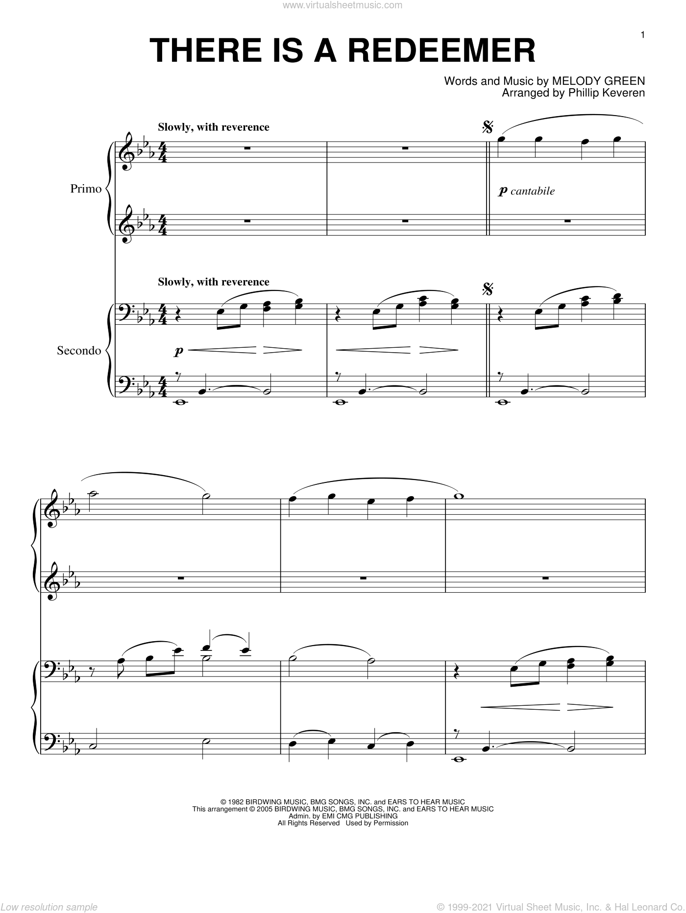 There Is A Redeemer sheet music for piano four hands by Keith Green, Phillip Keveren and Melody Green, intermediate skill level