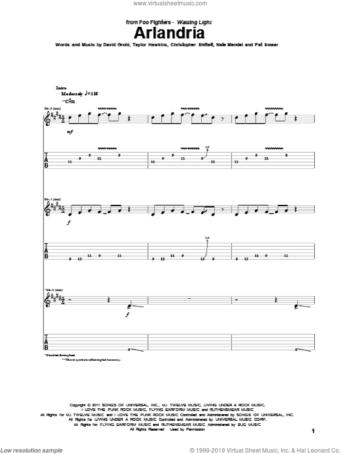 Arlandria sheet music for guitar (tablature) by Foo Fighters, intermediate. Score Image Preview.