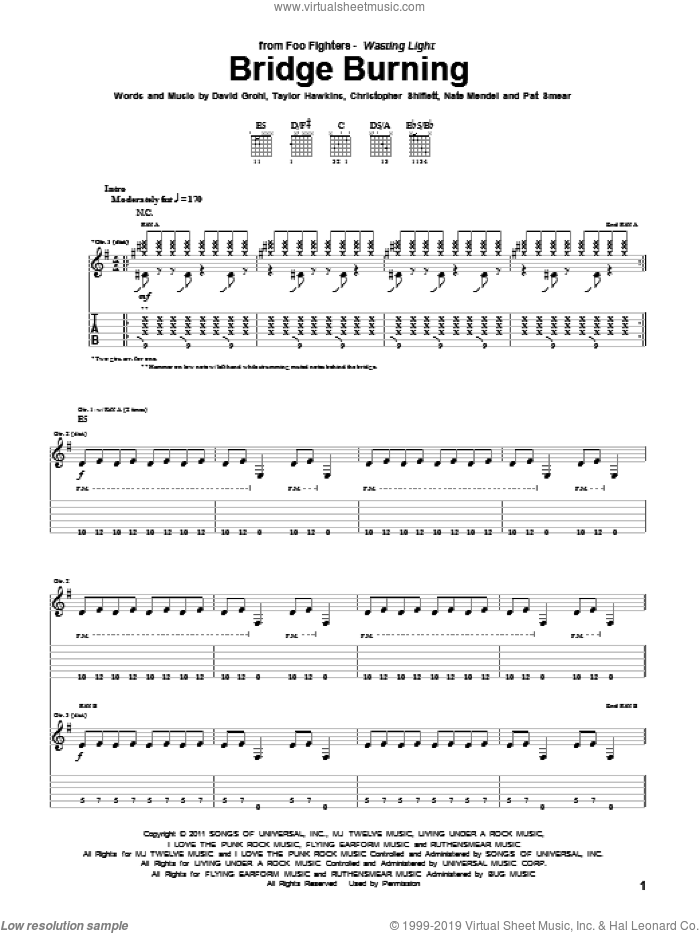 Bridge Burning sheet music for guitar (tablature) by Foo Fighters, intermediate. Score Image Preview.
