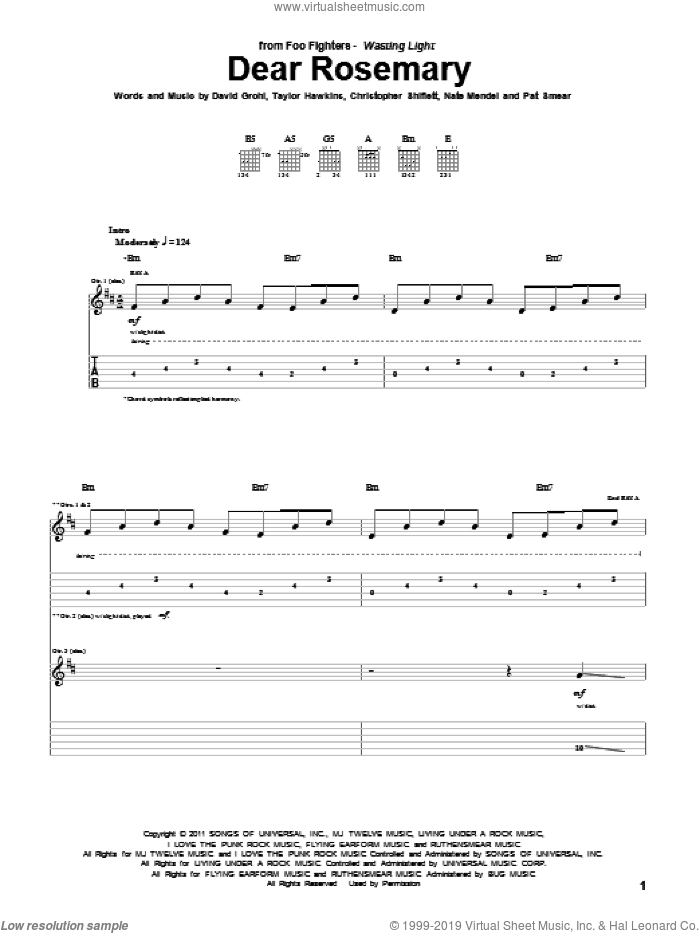 Dear Rosemary sheet music for guitar (tablature) by Foo Fighters. Score Image Preview.