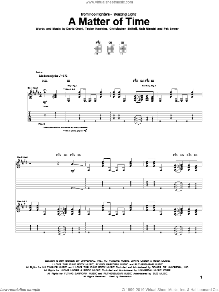 A Matter Of Time sheet music for guitar (tablature) by Foo Fighters, Christopher Shiflett, Dave Grohl, Nate Mendel, Pat Smear and Taylor Hawkins, intermediate skill level