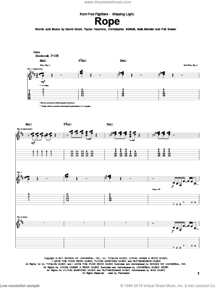 Rope sheet music for guitar (tablature) by Foo Fighters, Christopher Shiflett, Dave Grohl, Nate Mendel, Pat Smear and Taylor Hawkins, intermediate skill level