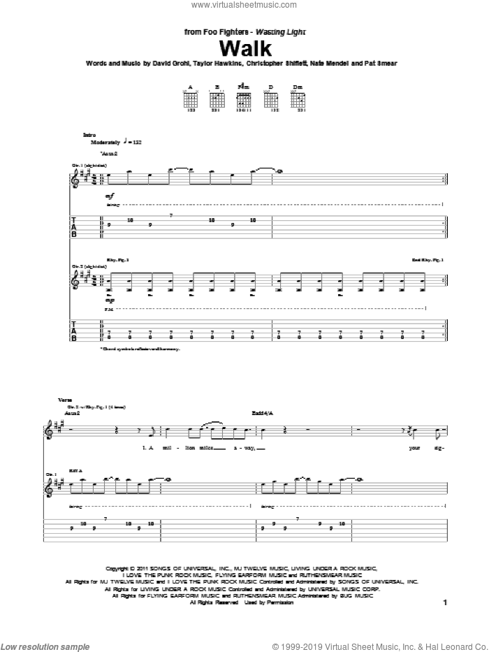 Walk sheet music for guitar (tablature) by Taylor Hawkins, Foo Fighters, Dave Grohl, Nate Mendel and Pat Smear. Score Image Preview.