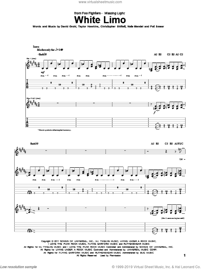 White Limo sheet music for guitar (tablature) by Taylor Hawkins