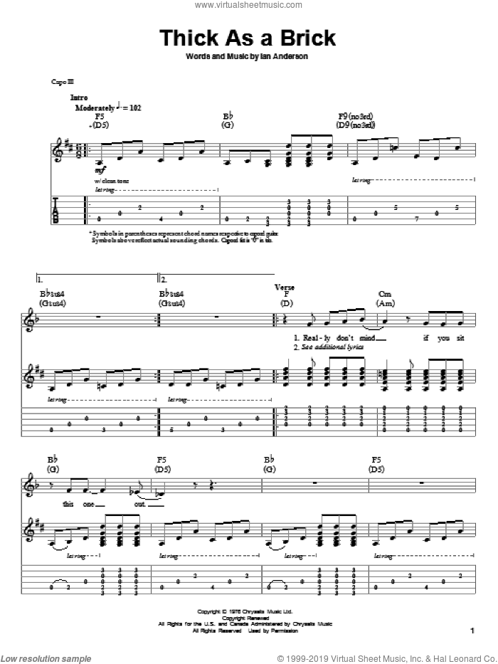 Thick As A Brick sheet music for guitar (tablature, play-along) by Jethro Tull and Ian Anderson, intermediate skill level