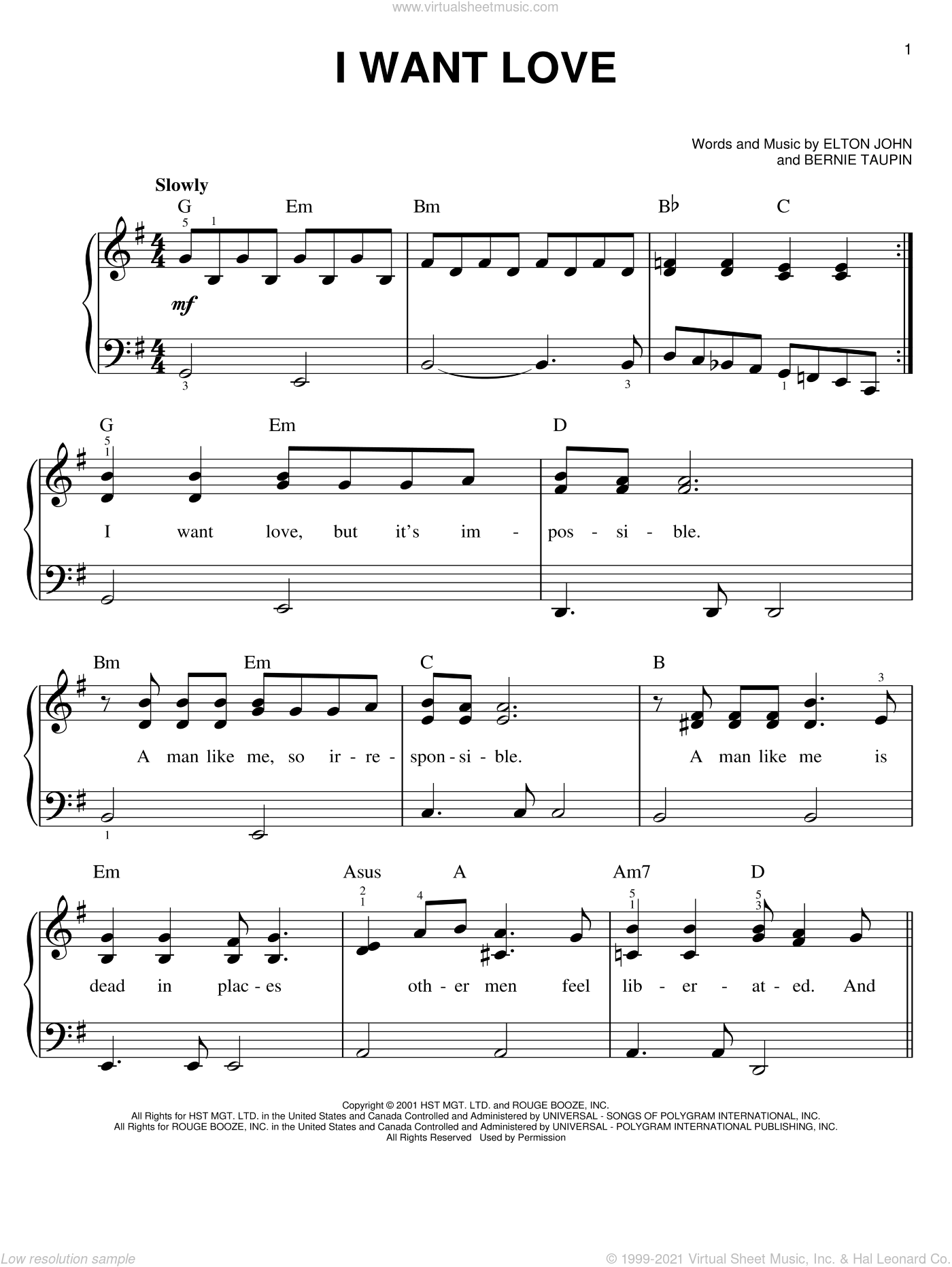 I Want Love sheet music for piano solo by Elton John and Bernie Taupin, easy skill level