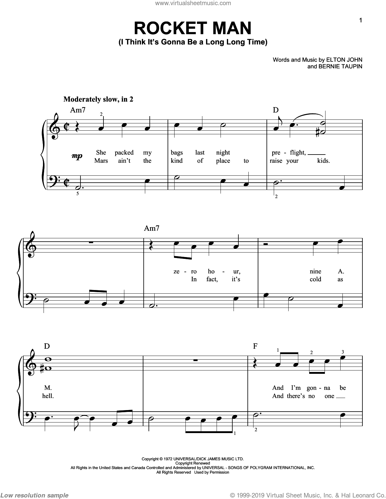 Rocket Man (I Think It's Gonna Be A Long Long Time) sheet music for piano solo by Bernie Taupin and Elton John. Score Image Preview.