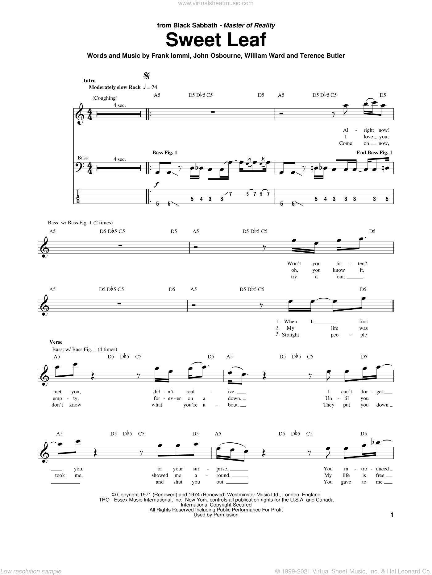 Sweet Leaf sheet music for bass (tablature) (bass guitar) by William Ward, Black Sabbath, Ozzy Osbourne and Terence Butler. Score Image Preview.