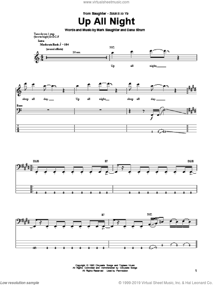 Up All Night sheet music for bass (tablature) (bass guitar) by Mark Slaughter and Slaughter. Score Image Preview.