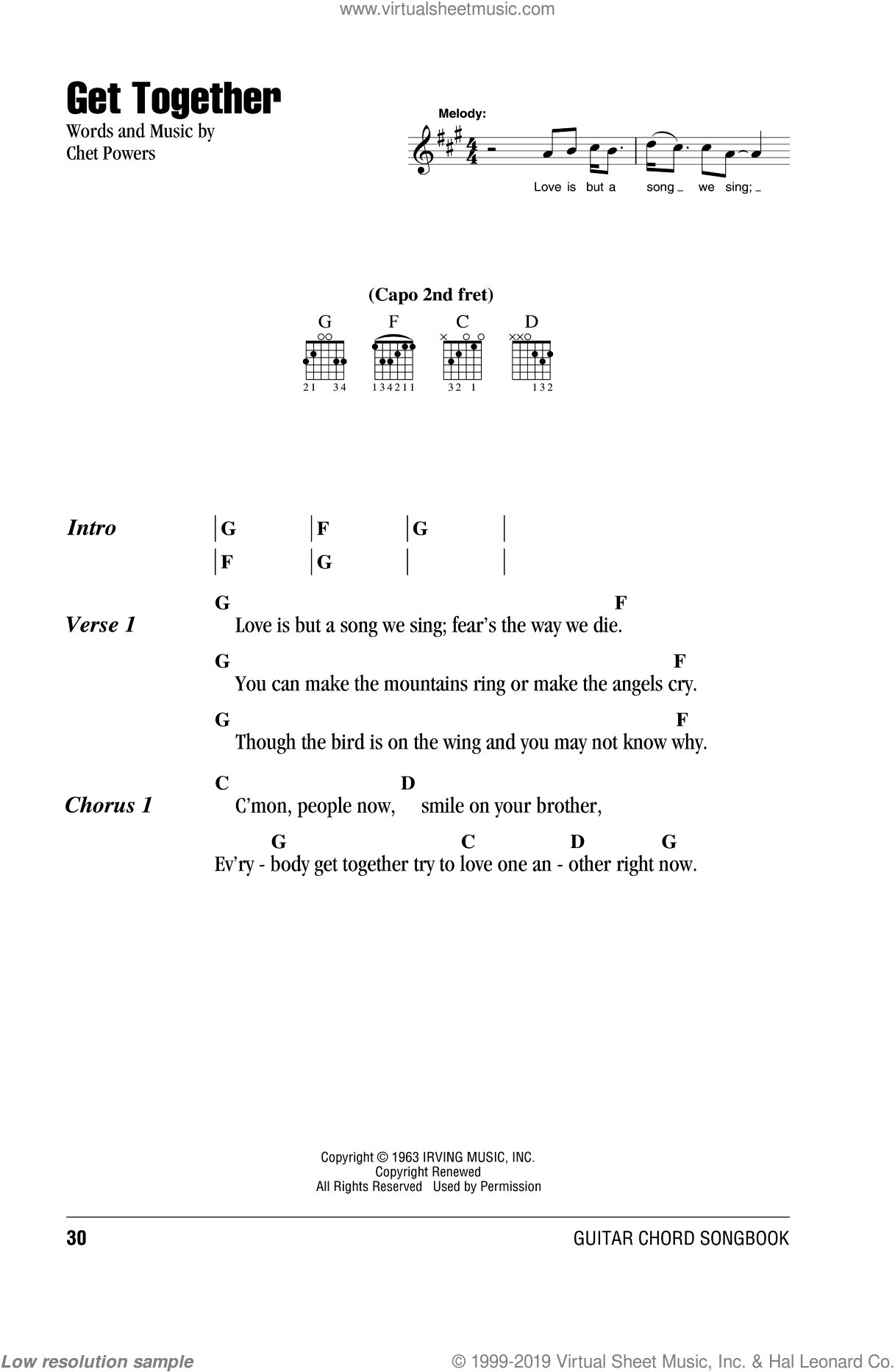 Get Together sheet music for guitar (chords) by Chet Powers