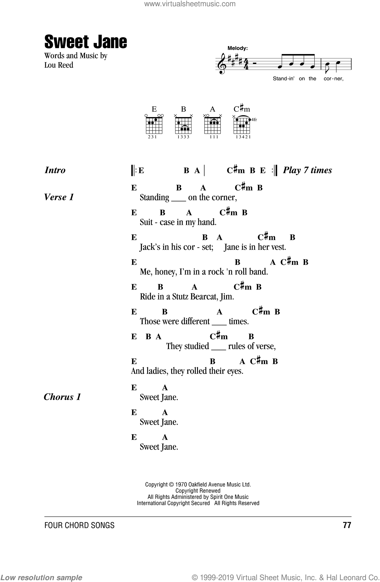 Sweet Jane sheet music for guitar (chords) by The Velvet Underground and Lou Reed, intermediate guitar (chords). Score Image Preview.