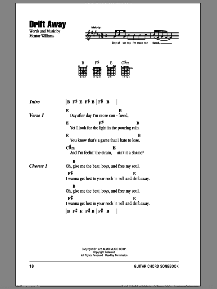 Drift Away sheet music for guitar (chords) by Mentor Williams and Dobie Gray. Score Image Preview.