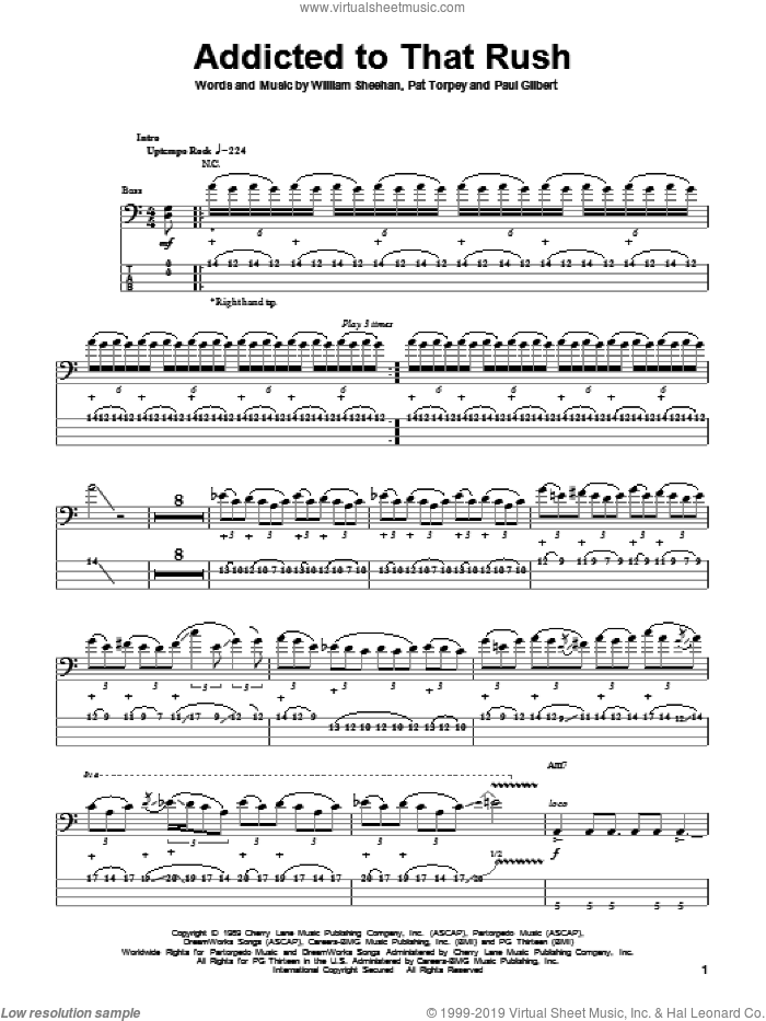 Addicted To That Rush sheet music for bass (tablature) (bass guitar) by Billy Sheehan, Mr. Big and Paul Gilbert. Score Image Preview.