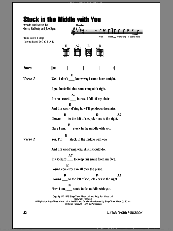 Stuck In The Middle With You sheet music for guitar (chords) by Stealers Wheel, Gerry Rafferty and Joe Egan, intermediate